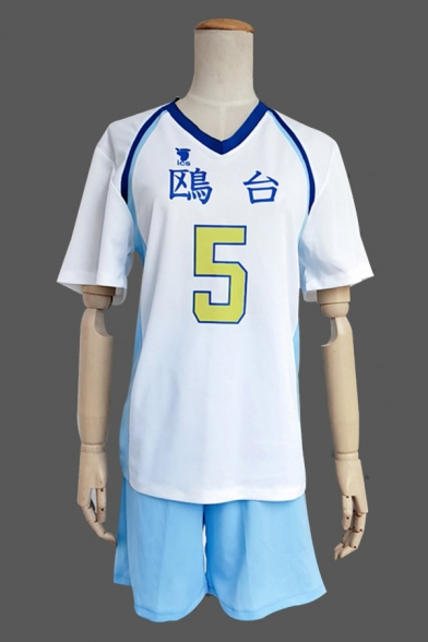 Summer Boys Letter Number Print Contrasted Short Sleeve V-neck Loose Fit T Shirt in White