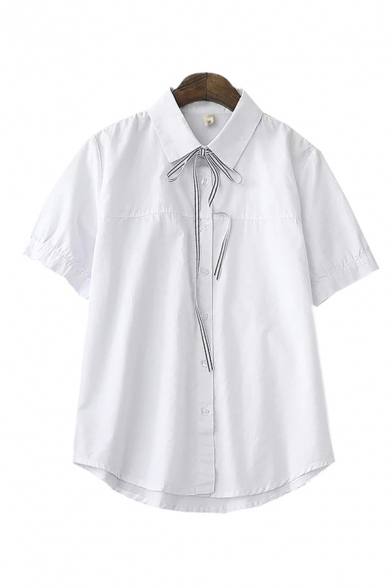 Summer White Short Sleeve Turn Down Collar Bow Tied Button Up Chest Pocket Relaxed Fit Shirt Top