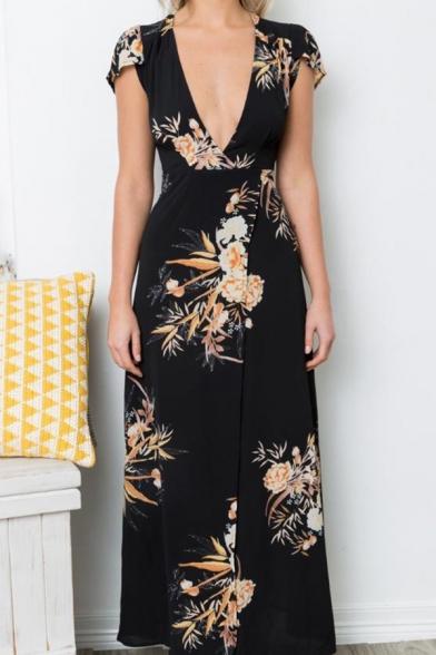Women's Boho Deep V Neck Floral  Wrap Split Long Dress