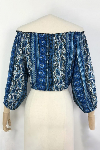 Women's Printed Off The Shoulder Ruffle Long Sleeve Loose Blouse Top