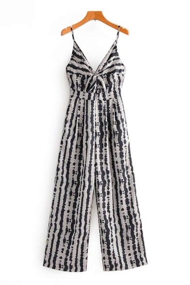Womens Jumpsuits Fashionable Irregular Striped Pattern Twist-Front Spaghetti Strap Full Length Loose Fitted Sleeveless Jumpsuits