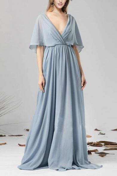 Casual Ladies Light Blue Sheer Chiffon Open Back Maxi Pleated Flowy Dress