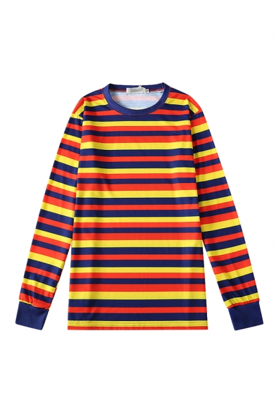 Colorful Men's Pullover Sweatshirt Cross Striped Pattern Long Sleeve Crew Neck Relaxed Fit Pullover Sweatshirt