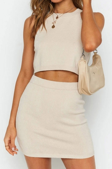 Formal Womens Knitted Sleeveless Crew Neck Fit Cropped Tank Top & Mini Sheath Skirt Co-ords in White