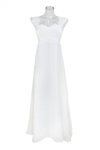 Glamorous Ladies Crochet Sleeveless Sweetheart Neck Maxi Pleated Flowy Tank Dress in White
