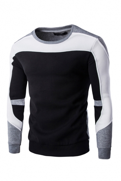 Novelty Mens Pullover Sweatshirt Color Block Cuffed Slim Fitted Long Sleeve Crew Neck Pullover Sweatshirt
