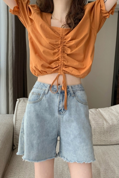 Stylish Ladies Plain Ruched Drawstring Square Neck Short Puff Sleeve Fitted Crop Blouse Top