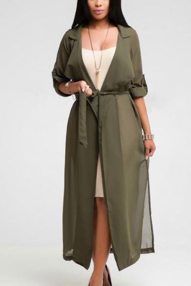 Summer Hot Popular Simple Plain Lapel Collar Long Sleeve Tied Waist Sun Protection Longline Chiffon Cardigan Coat