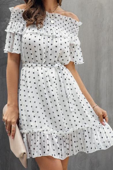 Summer New Stylish Polka Dot Off the Shoulder Puff Short Sleeve Mini White Dress