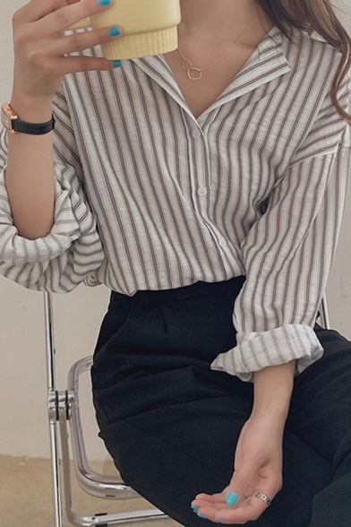 Two-Tone Casual Womens Striped Printed Button Up Collarless Long Sleeve Loose Fit Shirt