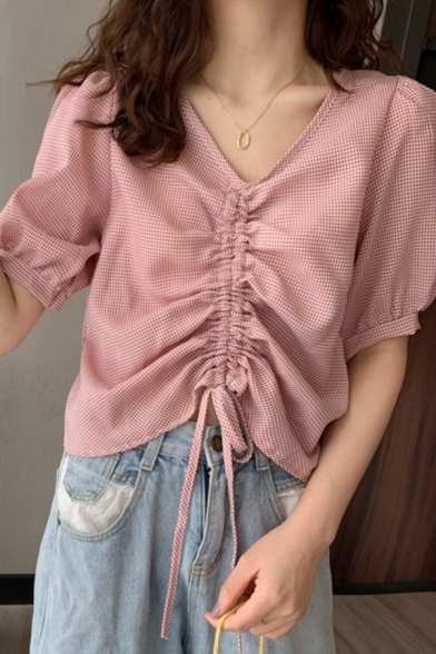 Vintage Ladies Gingham Printed Ruched Drawstring V Neck Short Puff Sleeve Fitted Crop Blouse Top