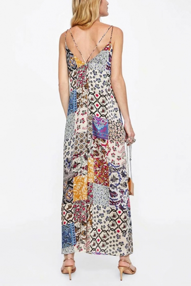 Vintage Womens Jumpsuits Contrasted Flower Pattern Backless Wide Leg Sleeveless Spaghetti Strap Loose Fitted Jumpsuits