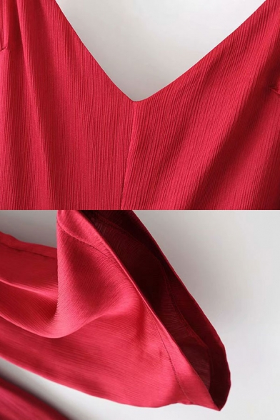 Womens Jumpsuits Chic Solid Color Satin Bow-Knot Waist Spaghetti Strap Loose Fitted Sleeveless Jumpsuits