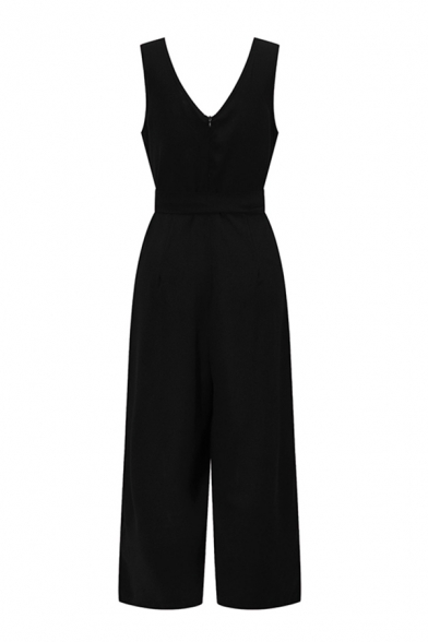 Womens Jumpsuits Simple Plain Button Detail Bow Sleeveless V-Neck Regular Fitted Wide Leg Jumpsuits