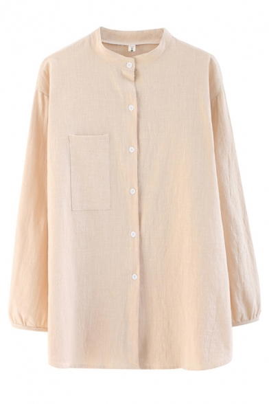 Basic Linen and Cotton Long Sleeve Collarless Button Up Plain Curved Hem Slit Side Relaxed Shirt Top