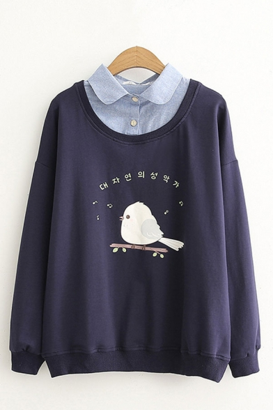 Chic Ladies Cartoon Bird Japanese Letter Graphic Print Patchwork Fake Two Pieces Turn Down Collar Long Sleeve Relaxed Fit Pullover Sweatshirt