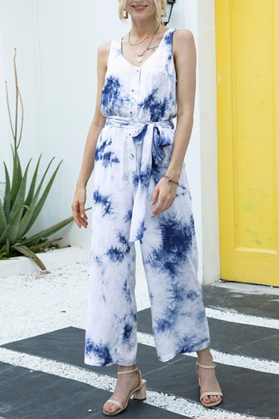 Cool Womens Jumpsuits Tie Dye Button Detail Sleeveless Scoop Neck 7/8 Length Loose Fitted Jumpsuits with Bow