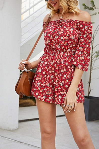 Cool Womens Red Rompers Flower Printed off Shoulder 3/4 Sleeve Loose Fitted Rompers