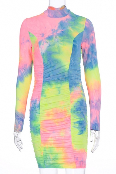 Edgy Ladies Tie Dye Printed Long Sleeve Mock Neck Ruched Mini Bodycon Dress in Pink