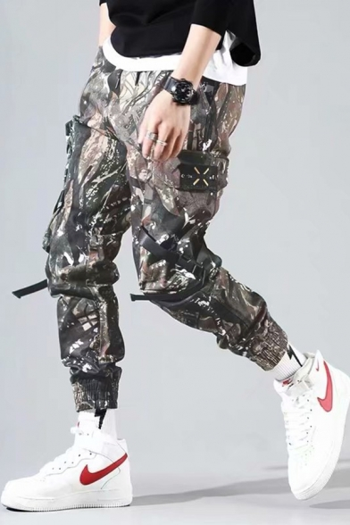 Guys New Stylish Camouflage Printed Buckle Ribbon Detail Military Army Green Cargo Pants
