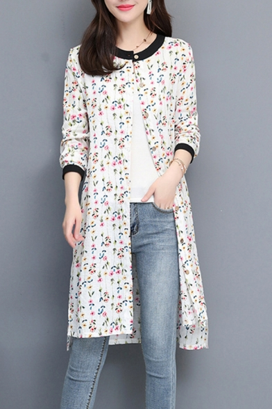 Ladies Pretty Ditsy Flower Printed Long Sleeve Crew Neck Button-up Linen and Cotton Long Loose Shirt Top