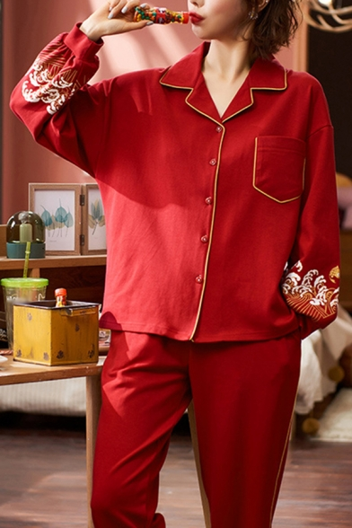 Leisure Red Flower Printed Long Sleeve Notched Collar Relaxed Shirt & Straight Pants Set for Ladies