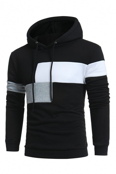 Men's Classic Color Block Patchwork Long Sleeves Fitted Slim Drawstring Hoodie