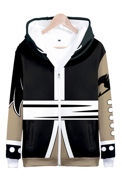 Mens Popular Anime Character 3D Print White and Black Zip Up Drawstring Hoodie