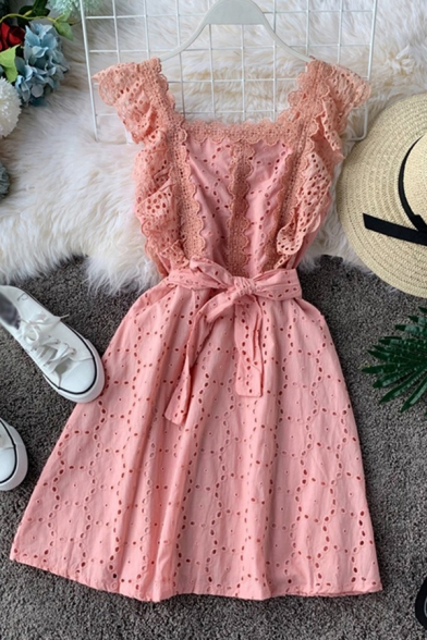 Pretty Ladies Plain Hollow Out Lace Trim Patchwork Bow Tie Waist Square Neck Ruffle Sleeve Short Tank Dress