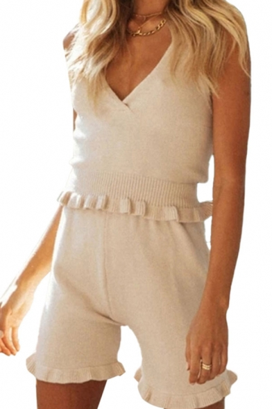 Sexy Ladies Knit Spaghetti Staps V-neck Stringy Selvedge Fit Cami & Shorts Set in White