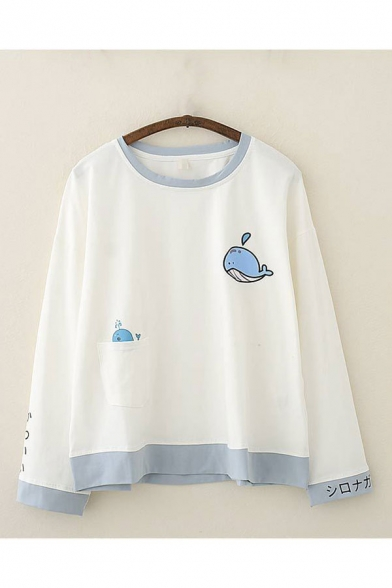 Trendy Ladies Whale Japanese Letter Graphic Print Contrast Trim Crew Neck Long Sleeve Relaxed Fit Pullover Sweatshirt