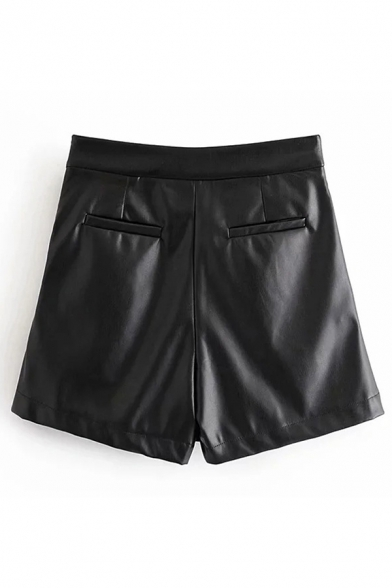 Basic Womens Skort Solid Color Ruched Detail Invisible Zipper A-Line Regular Fitted Leather Skort