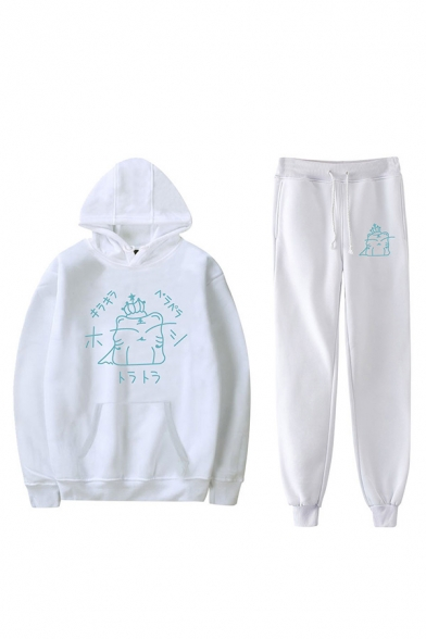 Casual Cartoon Letter Graphic Print Drawstring Pocket Long Sleeve Loose Fit Hooded Sweatshirt & Drawstring Waist Cuffed Ankle Length Tapered-Leg Pants Set