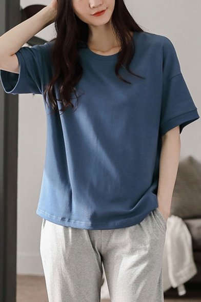 Casual Womens Solid Color High Low Hem Crew Neck Short Sleeve Relaxed T-Shirt & Elastic Waist Pocket Full Length Pants Pajama Set in Blue