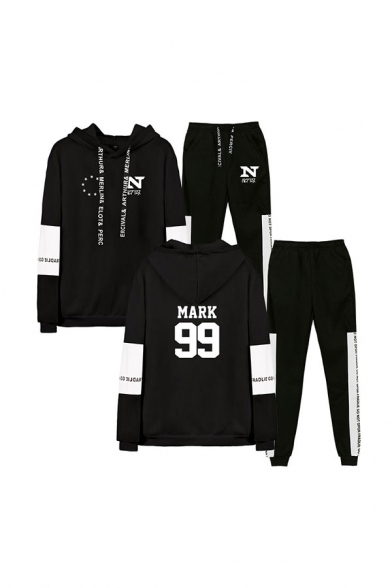 Chic Color Block Star Letter Nct Printed Drawstring Long Sleeve Regular Fit Hoodie & Cuffed Ankle Length Tapered-Leg Pants Set