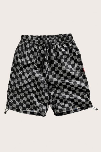 Classic Mens Shorts Checkered Printed Bungee-Style Cuffs Drawstring Waist Regular Fitted Relaxed Shorts