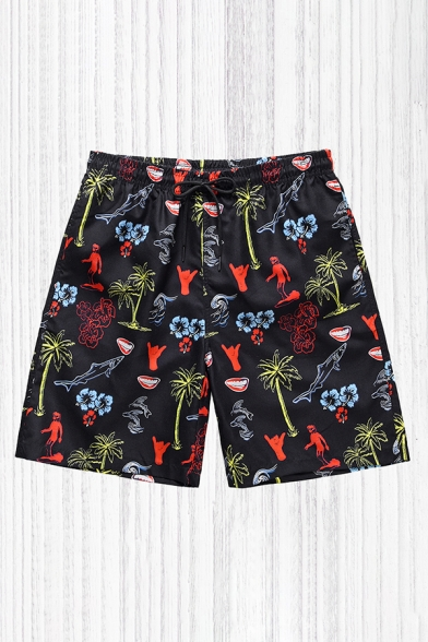 Cool Mens Shorts Palm Tree Floral Figure Gesture Fish Pattern Drawstring Waist Regular Fitted Relaxed Shorts