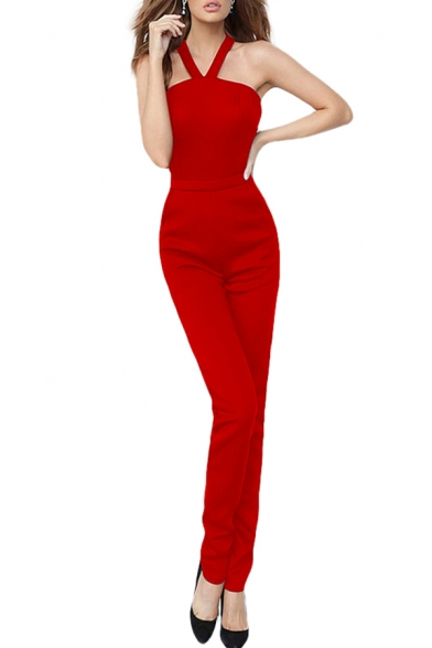 Cool Womens Jumpsuits Plain Zipper Fly Backless Sleeveless Halter Neck Sim Fitted Jumpsuits