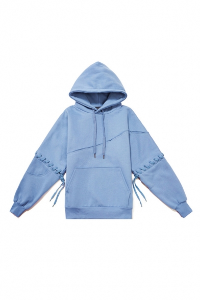 Fashionable Men's Hoodie Plain Pocket Drawstring Long Sleeve Relaxed Fit Hoodie in Light Blue