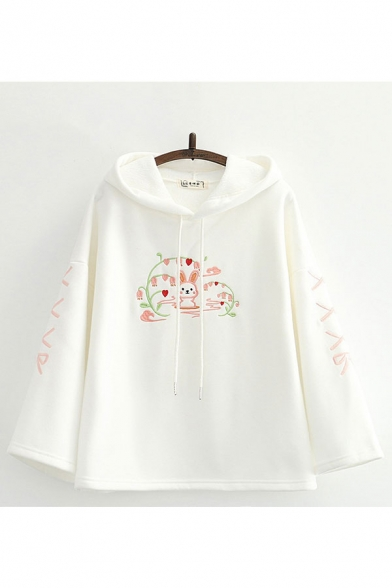 Ladies Lovely Cartoon Rabbit Heart Bow Embroidery Drawstring Bell Long Sleeve Loose Fit Hoodie