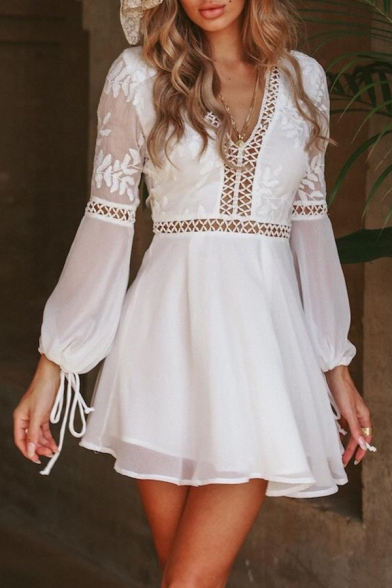 Plain Long Sleeve V Neck Hollow Panel Mini Dress