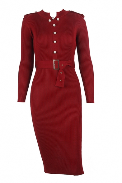 Pop Solid Color Button Embellished Belted Notched Collar Long Sleeve Midi Bodycon Sweater Dress for Women