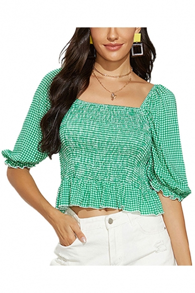 Pretty Ladies Gingham Printed Ruched Stringy Selvedge Open Back Square Neck Puff Sleeve Slim Fit Crop Peplum Blouse Top in Green