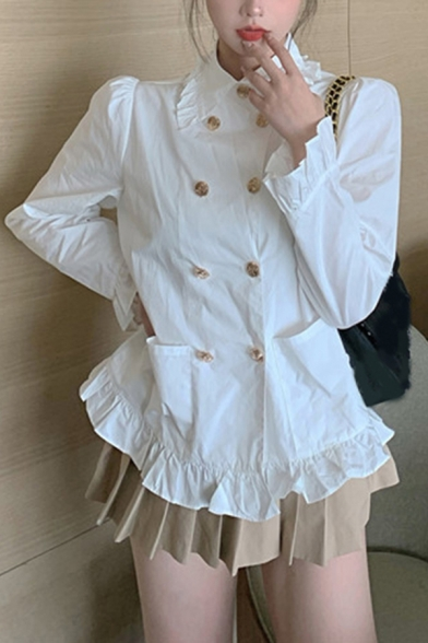 Pretty Womens Stringy Selvedge Long Sleeve Peter Pan Collar Double Breasted Regular Fit Shirt Top in White
