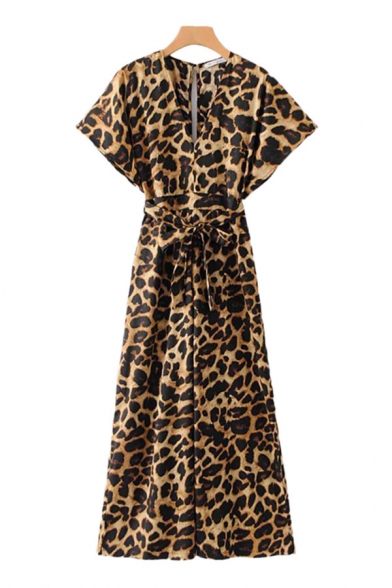 Retro Womens Jumpsuits Leopard Skin Pattern Keyhole-Back Wide Leg Tie-Waist Loose Fitted V Neck Sleeveless Jumpsuits