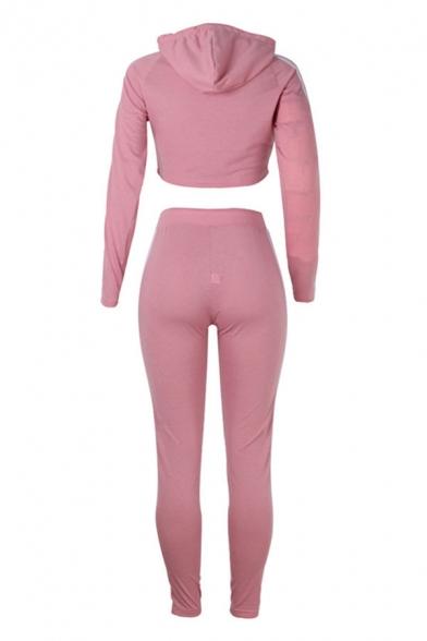 Stylish Contrast Stitch Drawstring Hooded Long Sleeve Slim Fit Crop Hoodie & High Rise Full Length Skinny Leggings for Ladies