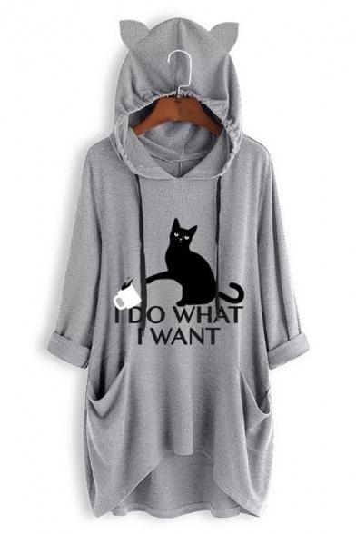 Stylish Half Sleeve Cartoon Cat Girl Printed Dip Hem Casual Loose Loneline Oversize Hooded T-Shirt