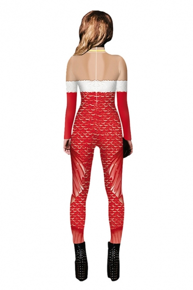 Unique Womens 3D Jumpsuit Christmas Tube Top Fish Scales Fin Pattern Pocket Drawstring Zip Full Sleeve Ankle Length Skinny Fit Hooded Jumpsuit
