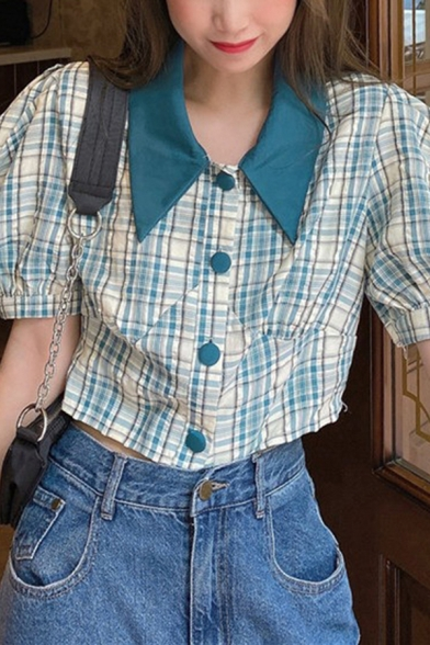 Vintage Womens Tartan Printed Single Breasted Turn-down Collar Short Puff Sleeve  Fitted Crop Shirt