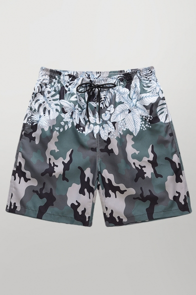 Cool Mens Shorts Camo Leaf Floral Printed Knee-Length Drawstring Waist Regular Fitted Relaxed Shorts